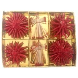фото Набор ёлочных украшений Феникс-Презент «Ангелы и звезды». Цвет: желтый, красный