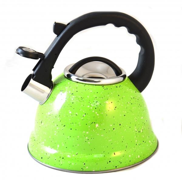 Чайник со свистком Mayer&amp;amp;Boch MB-24975Чайники со свистком и без свистка<br>Чайник Mayer Boch MB-24975 оборудован свистком для определения закипания воды и изготовлен из высококачественной нержавеющей стали. Корпус из стали долговечен, не подвергается коррозии и обладает антиаллергенными свойствами. Фиксированная ручка модели очень удобна и не нагревается, т.к. изготовлена из бакелита. На ней находится механизм открытия носика-свистка. Широкое капсульное дно распределяет тепло равномерно по всей поверхности, что обеспечивает быструю скорость закипания воды и устойчивость изделия. Герметичная крышка не пропускает пар, поэтому вода долго остается горячей. Изящная форма чайника и отполированная поверхность корпуса с покрытием из мраморной крошки придают ему эстетичности на столе.<br>