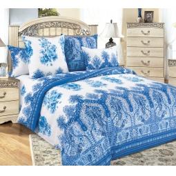 фото Комплект постельного белья Королевское Искушение «Гжель». 2-спальный. Цвет: синий. Размер простыни: 220х195 см