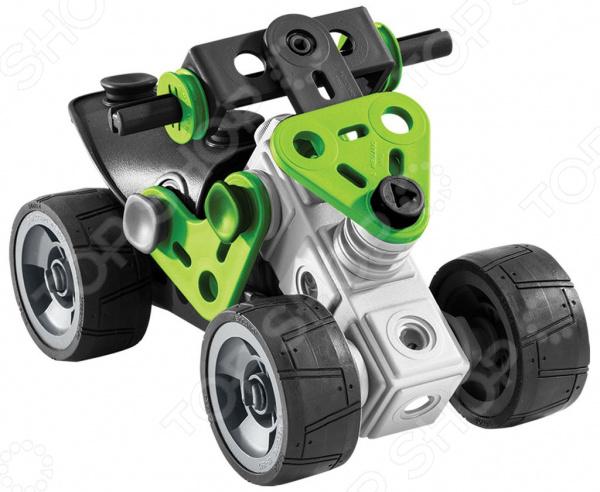 Конструктор-игрушка Meccano «Квадроцикл»Авто. Мото<br>Конструктор-игрушка Meccano Квадроцикл станет прекрасным подарком для юного конструктора, ведь в компактном пластмассовом ящичке можно найти 75 деталей разнообразной формы, из которых можно собрать одну из 6-и моделей на выбор, предложенных в инструкции. Детали соединяются друг с другом при помощи небольших пластиковых болтов, обслуживаемых инструментами, которые уже включены в набор.<br>