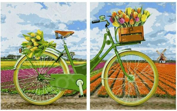 Набор для рисования по номерам Schipper «Диптих. Голландский велосипед»Наборы для рисования по номерам<br>Набор для рисования по номерам Schipper Диптих. Голландский велосипед подарит возможность любому человеку без художественного образования почувствовать себя профессиональным живописцем! Рисование по номерам это новый вид увлекательного изобразительного хобби. Нанеся краски на холст с готовым контуром рисунка и номерами необходимой краски, ориентируясь на контрольный лист, вы сможете создать настоящий шедевр своими руками. Набор будет одинаково интересен и детям, и взрослым. Вы можете преподнести его в качестве подарка или использовать, чтобы украсить стены своей комнаты или гостиной. В наборе: подготовленная основа для раскрашивания, набор из акриловых красок, не требующих смешивания, кисть, инструкция. Размер готовой картины составляет: 80х50 см. Использованная в данном наборе краска на основе акриловой кислоты очень популярна, универсальна и удобна в обращении. Она быстро высыхает, не выгорает на солнце и не тускнеет со временем. После высыхания такая краска образует эластичную пленку, которая не крошится, не отслаивается и не трескается. Высохшая акриловая краска устойчива к перепадам температур и изменению влажности.<br>