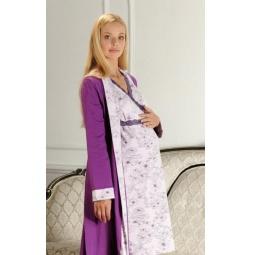 Купить Комплект: халат и сорочка для беременных Nuova Vita 214.1. Цвет: лиловый, фиолетовый