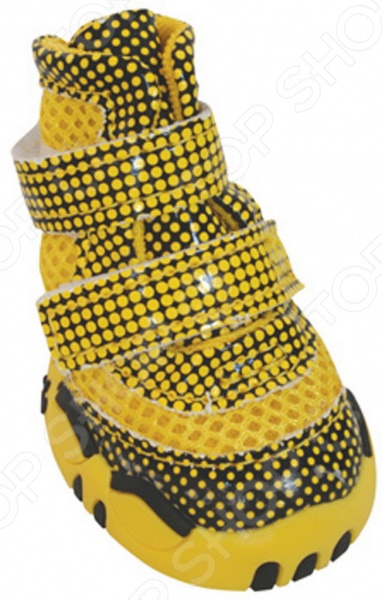 Обувь для собак DEZZIE «Флеш»Обувь для собак<br>Обувь для собак DEZZIE Флеш интересная вещь, с помощью которой вы обеспечите вашему питомцу нужный комфорт во время прогулок. Обувь разработана с учетом анатомических особенностей животных, плотно облегает лапу благодаря липучкам. Также имеет язычок-фиксатор для защиты шерсти при застегивании. Резиновая подошва не скользит по льду и не даст лапам промокнуть. Обувь смотрится очень мило, при этом прекрасно сохраняет форму при носке. Из представленного ассортимента можно выбрать размер.<br>