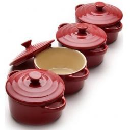 фото Набор жаровень с крышками Mayer&Boch керамические. Цвет: красный