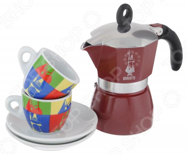 Набор для кофе Bialetti SET Dama POP ART 5330Кофеварки. Кофемолки. Турки<br>Набор для кофе Bialetti SET Dama POP ART 5330 замечательный комплект для истинных любителей кофе. Он представлен двумя керамическими чашками и гейзерной кофеваркой. Это высококачественное и практичное изделие, которое станет вашим верным помощником при приготовлении ароматного напитка. Кофеварка изготовлена из прочного алюминия, этот материал долговечен и надежен, не подвергается коррозии и легко очищается. При этом он достаточно легок и изящен. Рукоятка кофеварки выполнена из термостойкого пластика, также имеется предохранительный клапан давления. Прибор очень прост в использовании, подходит для газовых, электрических и стеклокерамических плит. Набор прекрасно сочетает в себе стильный дизайн и достойные потребительские свойства. Представлен он в яркой расцветке, которая очень приятна глазу. Комплект будет не только полезным дополнением кухонной утвари, но и украшением интерьера. Такой замечательный кофейный набор отличный повод, чтобы насладиться непревзойденным вкусом ароматного напитка вместе с любимым человеком. Высота кофеварки 17 см, диаметр дна кофеварки 8 см. Диаметр чашек по верхнему краю 6,2 см, диаметр дна кружек 3,5 см, высота кружек 5,2 см. Диаметр блюдец 12 см.<br>