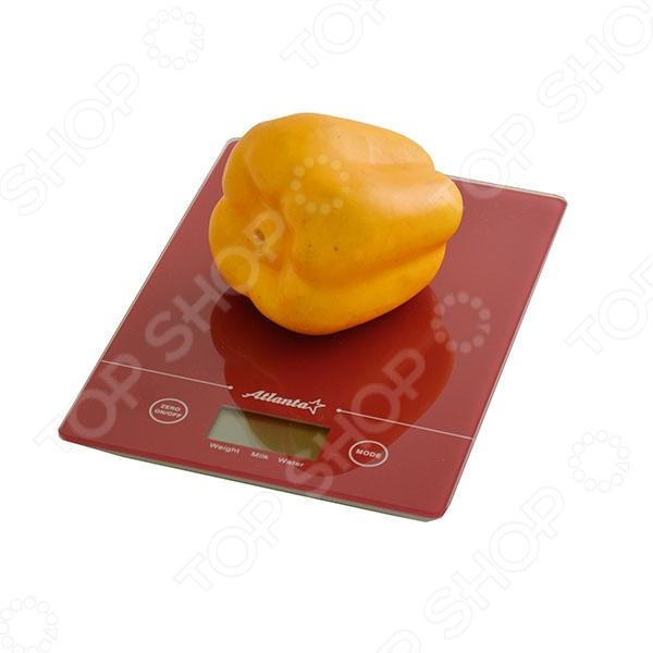Весы кухонные Atlanta ATH-801Кухонные весы<br>Весы кухонные Atlanta ATH-801 удобные электронные кухонные весы, которые сделают процесс приготовления пище ещё более простым и удобным. С помощью этих весов вы сможете взвесить как мелкие сыпучие ингредиенты, так и более крупные продукты, например, овощи, фрукты или мясо. Предел взвешивания составляет 5 кг. Удобная плоская платформа позволяет расположить на ней высокие чаши или кастрюли. Сверхточные часы отображают данные с точности до 1 г. С этими весами даже особо точные и сложные рецепты будут казаться легкими. На корпусе расположен большой дисплей с сенсорными кнопками, которые обеспечивают легкое управление весами. Стильный современный дизайн весов позволяет им вписаться в интерьер любой кухни. Особенности кухонных весов Atlanta ATH-801:  полностью электронная технология;  возможность измерения объема молока и воды;  функция обнуления веса;  функция сложный рецепт позволяет взвешивать отдельные ингредиенты в одной емкости;  автоматическое отключение позволяет надолго сохранить заряд батареи;  индикаторы слабых батареек и перегрузки.<br>
