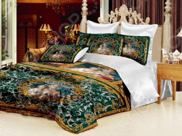 Комплект постельного белья «Мадонна». Евро. Цвет: зеленый