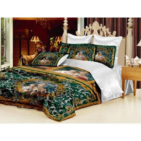Купить Комплект постельного белья «Мадонна». Евро. Цвет: зеленый