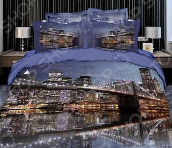 Комплект постельного белья с эффектом 3D Мар-Текс «Ночной город». 1,5-спальныйПолутороспальные комплекты постельного белья<br>Комплект постельного белья с эффектом 3D Мар-Текс Ночной город это незаменимый элемент вашей спальни. Человек треть своей жизни проводит в постели, и от ощущений, которые вы испытываете при прикосновении к простыням или наволочкам, многое зависит. Чтобы сон всегда был комфортным, а пробуждение приятным, мы предлагаем вам этот комплект постельного белья. Красивое оформление и высокое качество комплекта гарантируют, что атмосфера вашей спальни наполнится теплотой и уютом, а вы испытаете множество сладких мгновений спокойного сна. В качестве сырья для изготовления этого изделия использованы нити хлопка. Натуральное хлопковое волокно известно своей прочностью и легкостью в уходе. Волокна хлопка состоят из целлюлозы, которая отлично впитывает влагу. Хлопок дышит и согревает лучше, чем шелк и лен. Не забудем, что хлопок несъедобен для моли и не деформируется при стирке. Комплект постельного белья выполнен из ткани сатин. Полотно имеет гладкую и шелковистую лицевую поверхность, не уступающую по качеству шелку. Кроме того, данный тип ткани сохраняет свою прочность и привлекательный вид даже после многочисленных стирок. Главное, соблюдать рекомендации по уходу от производителя. Необходимо стирать при температуре, указанной на ярлычке, с использованием порошка для цветного белья. Не следует прибегать к применению хлорсодержащих средств и отбеливателей. Желательно выворачивать белье наизнанку перед стиркой.<br>