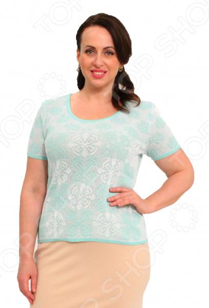 Джемпер Milana Style «Селестина». Цвет: мятныйДжемперы. Кардиганы. Свитеры<br>Джемпер Milana Style Селестина это элегантная вещь из мягкой ткани. Замечательный дизайн сделает ее центральной деталью неповторимого образа, а грамотный покрой подойдет женщинам с любой фигурой. Джемпер станет изысканной частью торжественного образа, а также хорошо подойдет для повседневной работы и отдыха. Оригинальный крой с небольшим рукавом, который скроет недостатки в плечах и подчеркнет форму руки. Универсальная длина прекрасно скроет недостатки фигуры, подчеркнув при этом достоинства. Классический фасон позволит комбинировать джемпер с любой другой одеждой. Круглый вырез горловины и короткие рукава с манжетами подчеркнут ваше изящество. На фото джемпер представлен с юбкой Венера . Джемпер выполнен из мягкой ткани 60 хлопок, 40 пан . Изделие превосходно садится по фигуре, принимает исходную форму после использования, не линяет и не скатывается. Выдерживает многократные стирки при условии соблюдения рекомендаций по уходу от производителя.<br>