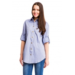 фото Рубашка Mondigo 6135. Цвет: джинсовый. Размер одежды: 46