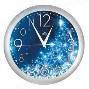 Часы настенные Вега П 1/7-231 «Снежинки»Часы настенные<br>Часы настенные Вега П 1 7-231 Снежинки с большим синим циферблатом, украшенным снежинками, станут отличным дополнением интерьера. Кварцевая модель снабжена долговечным механизмом хода часовой, а также минутной и секундной стрелок. Стоит отметить, что кварцевые часы считаются наиболее популярными в оформлении интерьера.<br>
