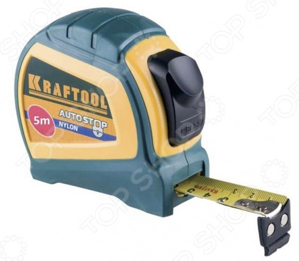 Рулетка Kraftool Expert 34123Рулетки. Мерные ленты<br>Рулетка Kraftool Expert 34123 это практичная рулетка с прочным пластмассовым корпусом. Покрытие обладает повышенной устойчивостью к абразивному износу и послужит вам в несколько раз больше по сравнению с обычными рулетками. Есть крючок для точных внутренних и внешних измерений, ширина самой ленты: 19 или 25 мм в зависимости от выбранной модели . Эта рулетка будет удобна для работы на стройке за счет возможности крепления инструмента к поясу. Есть фиксатор положения ленты.<br>