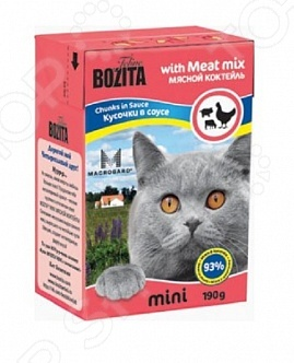 Корм консервированный для кошек Bozita Chunks in Sauce with Meat Mix MiniВлажные корма<br>Корм консервированный для кошек Bozita Chunks in Sauce with Meat Mix Mini высокоэнергетическая мясная подкормка, которая подойдет для взрослой кошки. Изготовлен на основе мяса курицы, говядины и свинины с добавлением полезных ингредиентов. Содержит минеральные элементы и витамины в необходимых пропорциях. В корме также присутствует уникальный комплекс, который обеспечивает защиту иммунитета животного и помогает ему справляться со стрессами. Регулярное вскармливание этого продукта предотвратит заболевания желудочно-кишечного тракта. Особенности корма Bozita Chunks in Sauce with Meat Mix Mini:  Содержит все необходимые витамины и минеральные вещества;  Эффективен для восстановления иммунной системы;  Не содержит искусственные добавки, красители, консерванты, усилители вкуса;  Произведено без использования ингредиентов, содержащих ГМО. Состав: курица 74 , говядина 11 , свинина 8 , карбонат кальция, дрожжи -1,3 1,6-глюкан 0,01 . Пищевая ценность: белок 8,5 , жир 4,5 , клетчатка 0,5 , кальций 0,3 , фосфор 0,3 , влажность 83 .<br>