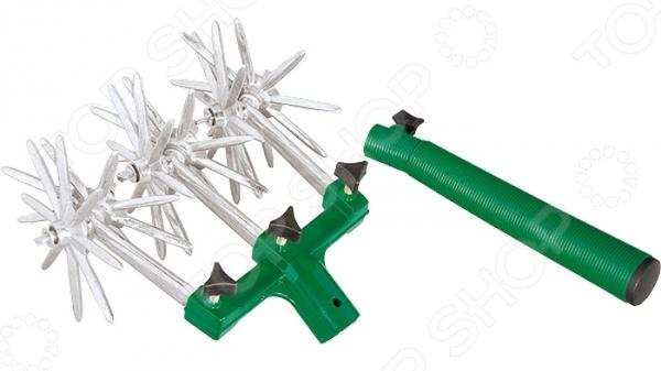 Культиватор садовый PALISAD 62030Вилки. Разрыхлители<br>Культиватор садовый PALISAD 62030 инструмент, используемый для рыхления почвы. Конструкция представлена прочными алюминиевыми рыхлителями, укрепленными под углом на трех парах колес. На каждом из них расположено по восемь шипов длина 50 мм . Охват рабочей части составляет 17,5 см. Имеется металлическая тулейка для присоединения удлиняющей рукоятки черенка . Монтаж и демонтаж колесных пар осуществляется при помощи барашковых винтов.<br>