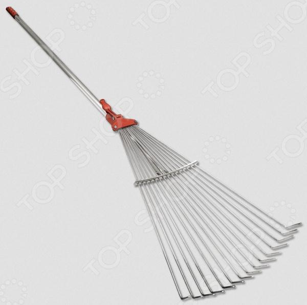 Грабли веерные SANTOOL 090130-002Грабли<br>Грабли веерные SANTOOL 090130-002 это незаменимый инструмент, который необходим каждому владельцу дома. С их помощью вы можете собирать скошенную траву, опавшую листву или плоды, использовать в качестве разрыхлителя для почвы. Металлические грабли отличаются повышенной жесткостью, поэтому подойдут для работы с дерном. Можно отметить следующие достоинства этого садового инструмента:  Грабли применяются для чистки газонов от скошенной травы или листьев, при этом, не повреждая сам газон.  Плоские зубцы изготовлены из пружинной стали.  Практичная металлическая ручка.<br>