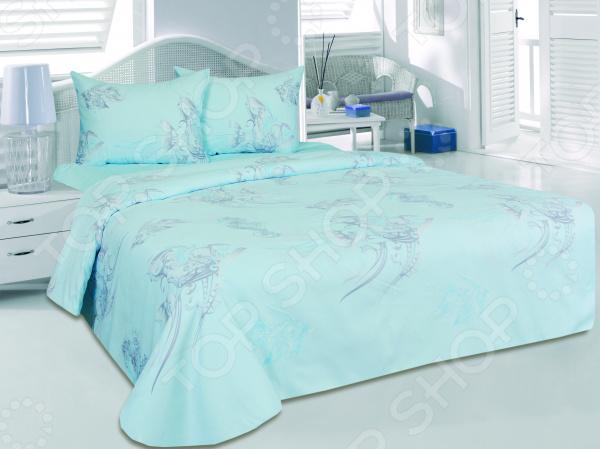Комплект постельного белья Tete-a-Tete «Океания». 2-спальный2-спальные<br>Спальня один из важнейших уголков квартиры. Это место, где человек может отдохнуть и набраться сил после трудного рабочего дня, прочитать любимую книгу и просто побыть вместе со своей второй половинкой. Именно поэтому к оформлению спальной комнаты следует подходить с большой ответственностью. Комплект постельного белья Tete-a-Tete Океания прекрасное решение для любой спальни. Вас приятно удивит сочетание высококачественного материала, насыщенной палитры цветов и оригинального морского рисунка. Сочные оттенки голубого органично вольются в любой интерьер, привнесут в него уют, комфорт и гармонию.  Сатин качество, практичность, изысканность! Постельное белье изготовлено из натурального хлопка. В процессе производства используется два вида нитей: утолщенные волокна для основы, а крученные тонкие для лицевой стороны. Таким образом, внешняя сторона белья получается гладкая и блестящая. А с изнанки формируется более плотный, шероховатый слой. Именно это сатиновое плетение и формирует исключительные потребительские качества постельного белья:  высокие показатели износоустойчивости;  хорошую воздухопроницаемость;  гигроскопичность;  приятную текстуру;  низкую степень электризации;  хорошие теплоизолирующие свойства;  красивый блеск и шелковистость.  Хлопок прекрасно сохраняет температуру и впитывает влагу. Поэтому в летнее время вы будете ощущать приятную прохладу, а в холодный сезон обволакивающее тепло. Хлопок не содержит аллергенов это самый подходящий материал для людей, чувствительных к различным внешним раздражителям. Рекомендации по уходу  Перед стиркой вывернуть белье на изнаночную сторону.  Оптимальная температура стирки 30 градусов.  Использовать мягкие кондиционеры, смягчители воды и щадящие порошки без хлора.  Не применять химическую чистку.  Сушить без использования нагревательных элементов и в развернутом виде.  Создайте спальню своей мечты Комплект постельного белья Tete-a-tete залог ком