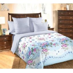 фото Комплект постельного белья Королевское Искушение с компаньоном «Фиалка». 2-спальный. Цвет: голубой. Размер простыни: 220х195 см