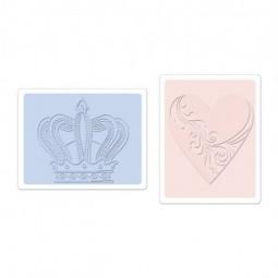 фото Форма для эмбоссирования Sizzix Textured Impressions Корона и сердечко