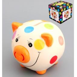 Купить Копилка Elan Gallery «Свинюшка в разноцветный горошек»