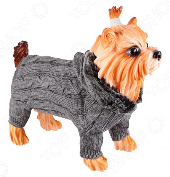 Свитер для собак DEZZIE «Борн»Попоны<br>Свитер для собак DEZZIE Борн замечательная вещь для заботливых владельцев собак, которые хотят обеспечить комфорт и уют своему питомцу. Изделие разработано с учетом анатомических особенностей животных, поэтому вашей собачке будет удобно и тепло. Кроме того, свитер смотрится очень модно. Спинка выполнена рисунком коса , а капюшон связан лицевой гладью и оторочен мехом. Рукава и низ изделия связаны резинкой 2x2.<br>