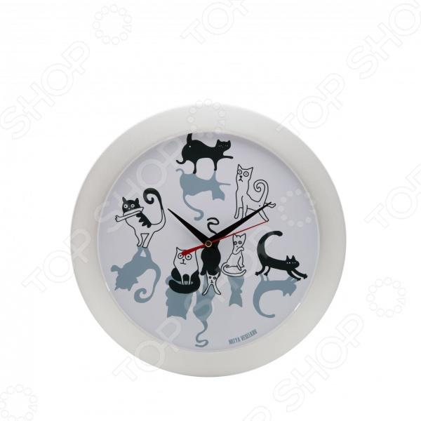 Часы настенные Mitya Veselkov «Кошки и коты»Часы настенные<br>Настенные часы это элегантный и неотъемлемый элемент дизайна любого помещения. Правильно подобранные часы позволяют внести в общий интерьерный ансамбль некоторую изюминку и легкий штрих индивидуальности, собственного стиля. Поэтому к подбору такого значимого и функционального украшения надо подходить с умом. Настенные часы от отечественного бренда Mitya Veselkov станут настоящей находкой для тех, кто следит за трендами современной моды, любит постоянные перемены и предпочитает новаторские решения взамен обыденной классике. Часы настенные Mitya Veselkov Кошки и коты отлично впишутся в интерьер вашей гостиной, спальни, кухни или детской комнаты. Корпус кварцевых часов выполнен из качественного пластика, который гарантирует не только их легкость, но и практичность, легкий монтаж и уход. Циферблат данной модели оформлен занимательным дизайнерским рисунком, который придется по душе всем любителям домашних животных. Яркая и оригинальная расцветка превратит часы в настоящий источник хорошего настроения. Создайте неповторимую атмосферу уюта и комфорта с необычными настенными часами Mitya Veselkov Кошки и коты !<br>