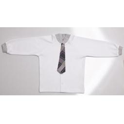 фото Футболка для мальчиков с галстуком Ёмаё. Цвет: белый. Размер: 32. Рост: 128 см