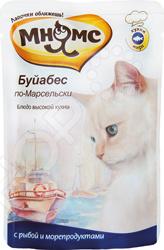 Корм влажный для кошек Мнямс «Буйабес по-Марсельски» с рыбой и морепродуктамиВлажные корма<br>Корм влажный для кошек Мнямс Буйабес по-Марсельски с рыбой и морепродуктами повседневный рацион для сбалансированного питания питомца. Корм соответствуют всем потребностям кошек. Высокая вкусовая привлекательность создаст хороший аппетит. Подходит для кошек с чувствительным пищеварением, также поддерживает оптимальный вес. Для нормального самочувствия вашего питомца следует придерживаться нормы кормления. Также следите за тем, чтобы у него была чистая и свежая вода в миске. Инструкция по кормлению есть на упаковке.<br>