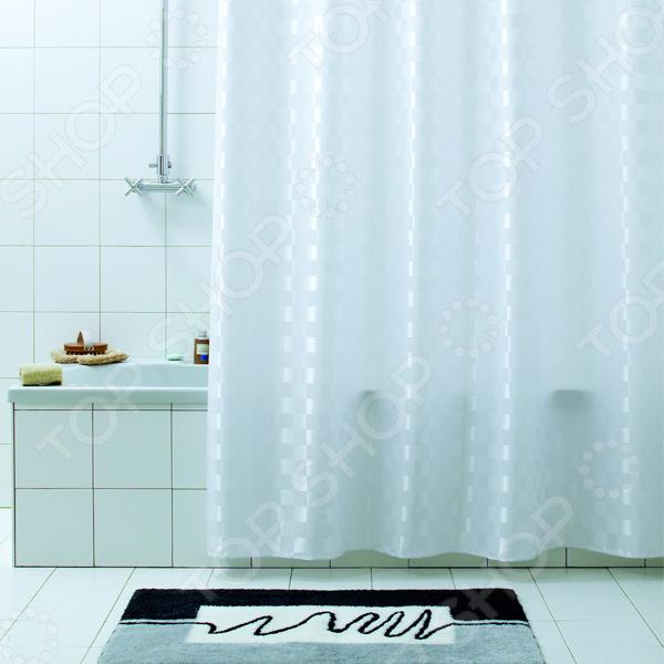 Штора для ванной Bacchetta QuadrettoКарнизы. Шторки для ванной<br>Штора для ванной Bacchetta Quadretto имеет как практическое, так и эстетическое назначение. Она не только позволит вам укрыться от посторонних взглядов во время принятия душа, но и убережет пол от попадания водяных брызг. Кроме того, благодаря стильному дизайну, такая шторка еще и украсит вашу ванную комнату, став ярким элементом ее интерьера. Модель выполнена из высокопрочного полиэстера с водоотталкивающей и антибактериальной пропиткой. Нижний край шторки снабжен специальным утяжелителем в виде металлизированной нити. Кольца для крепления в комплекте.<br>