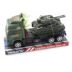 фото Машинка инерционная Shantou Gepai «Трак военный с танком» 5359-7A
