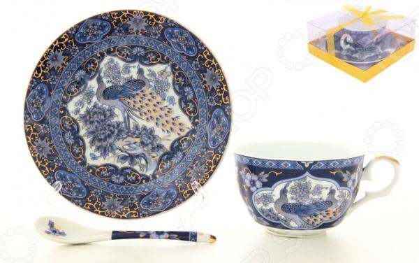 Чашка чайная с блюдцем и ложкой Elan Gallery «Павлин синий» 180696 Elan Gallery - артикул: 534890