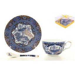 Купить Чашка чайная с блюдцем и ложкой Elan Gallery «Павлин синий» 180696