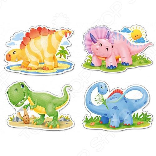 Набор пазлов 4 в 1 Castorland «Динозаврики»Другие виды пазлов<br>Набор пазлов 4 в 1 Castorland Динозаврики - яркий красочный развлекательный пазл. В наборе находятся 4 иллюстрации различных улыбчивых динозавров. Предназначен пазл для самых маленьких и для их веселого времяпрепровождения. Такая игра способствует развитию логического мышления, учит различать предметы по цвету, форме и развивает мелкую моторику рук ребенка. Такой пазл станет отличным подарком для вашего ребенка.<br>