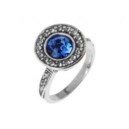фото Кольцо Jenavi Лоо. Вставка: Swarovski синий кристалл. Размер: 17
