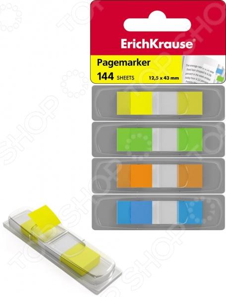 Набор стикеров-закладок Erich Krause 31873Бумага для заметок. Стикеры. Блоки<br>Набор стикеров-закладок Erich Krause 31873 - комплект удобных гибких закладок на пластиковой основе с липким клеевым слоем. Суперклейкие полоски надежно крепятся на различные поверхности. Их можно легко переклеивать, не боясь при этом повредить бумагу. Набор отлично подходит для создания различных разделов, выделения нужных страниц. Специальное покрытие из бумаги позволяет сделать важные пометки. Размер одной закладки составляет 12,5х43 мм. В набор входят 144 листов 4 разных цветов: зеленого, голубого, оранжевого и неонового желтого. Каждый из цветов находиться в удобном диспансере, который облегчает использование клеящихся закладок.<br>