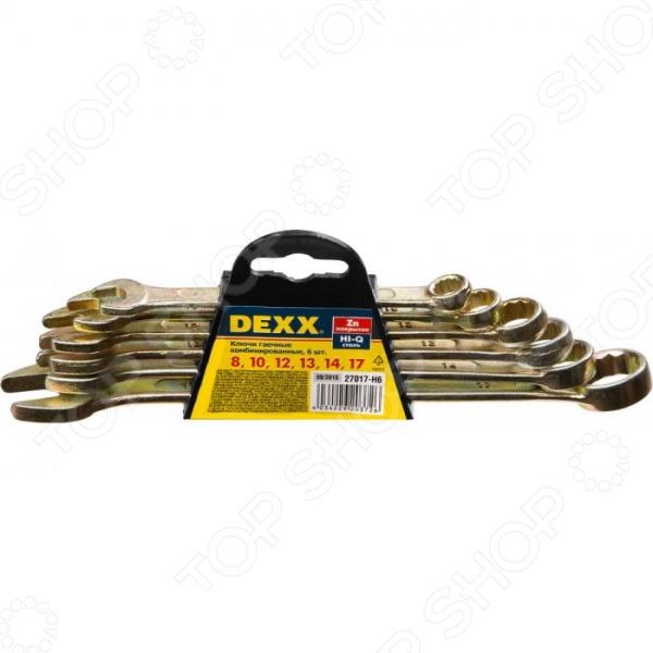 Набор ключей комбинированных DEXX 27017-H6  набор комбинированных гаечных ключей dexx 8 17мм 6шт