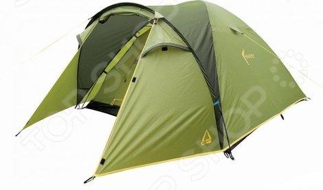 Палатка Best Camp HarveyПалатки<br>Палатка Best Camp Harvey комфортабельная палатка, рассчитанная на трех человек. Независимо от того, собрались вы за город на выходные или же решили отправиться в поход, необходимо временное уютное жилище, которое укроет от непогоды и создаст все необходимые условия для проживания. Данная модель палатки отличается надежностью и легкостью установки, она отлично подойдет и для рыбалки, и для охоты, и для простого отдыха. Конструкция палатки представлена прочным каркасом из стеклопластика, который обеспечивает устойчивость конструкции даже при сильном ветре. Дополнительную страховку осуществляют штормовые оттяжки. Герметично проклеенные швы и специальная водостойкая пропитка тента обеспечивают комфортные условия проживания в любую погоду. Вентиляционные окна расположены сразу при входе в тамбур. Благодаря выносной дуге его площадь значительно расширяется. Внутри палатки расположены вместительные карманы для различных мелочей. В сложенном виде палатка занимает совсем немного места, поэтому с ее транспортировкой у вас точно не возникнет проблем.<br>