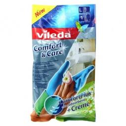 фото Перчатки с кремом для чувствительной кожи рук Vileda «Комфорт». Размер: L
