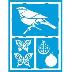 фото Трафарет декоративный для стекла и других поверхностей DecoArt Americana Птички, бабочки