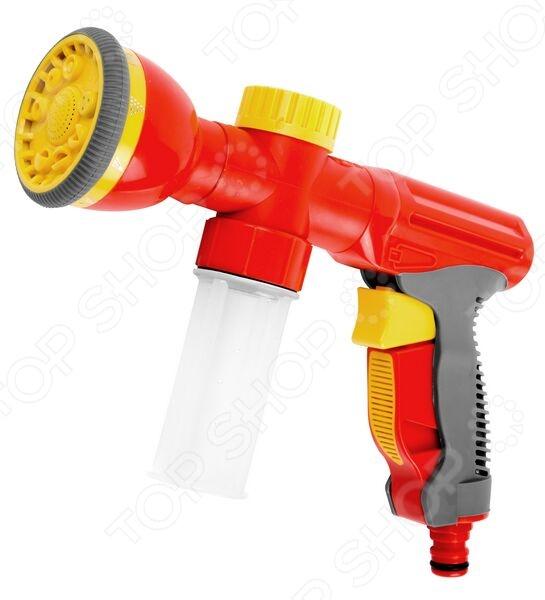 Пистолет-распылитель Grinda 8-427378Пистолеты для полива<br>Пистолет-распылитель Grinda 8-427378 это распылитель, который предназначен для полива растений через подключение к садовому шлангу. Подойдет как для полива цветов, так и кустарников или деревьев. Корпус выполнен из пластика, а значит отличается повышенной износостойкостью. Покрытие из пластичной резины гарантирует комфорт и легкость использования, защищает распылитель от выскальзывания из рук. Есть возможность регулировать струю воды для того, чтобы не повредить нежные растения чрезмерным напором. Можно отметить следующие особенности представленного пистолета:  Выбор формы водяной струи осуществляется путем поворота головки пистолета-распылителя в одно из 9-ти следующих положений: жесткая струя, аэрированная струя, мягкий душ, плоская струя, наклонная струя, душ, вертикальный полив, конус, сильная струя.  3 режима работы - распыление удобрения; полив; мойка.<br>