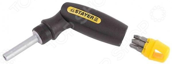 Отвертка реверсивная с битами Stayer Profi LeverMax 25563-H7