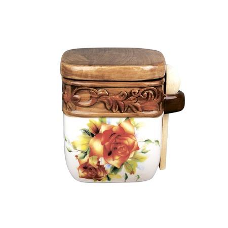 Купить Банка для хранения с ложкой Коралл HC201-D39 «Розы»