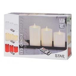 фото Набор из 3-х свечей Star Trading с пультом. Цвет: бежевый