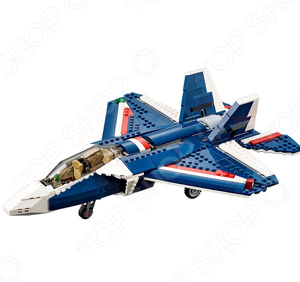 Конструктор игрушечный LEGO «Синий реактивный самолет»Конструкторы LEGO<br>Конструктор игрушечный Lego Синий реактивный самолет - замечательный игровой набор для юного поклонника авиатехники. Этот яркий и красочный конструктор придется по душе любому мальчишке, ведь с помощью 608 деталей можно будет собрать не только модель большого реактивного самолета, но и гоночный катер, а также большой вертолет. В наборе ребенок сможет найти детали белого, синего и красного цвета, поэтому все модели получаются яркими и очень привлекательными. У истребителя 5 поколения убираются шасси, а собранного вертолета будут вращаться оба винта. Порадуйте своего ребенка игрушечным конструктором Lego Синий реактивный самолет !<br>