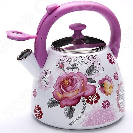 Чайник со свистком Mayer&amp;amp;Boch MB-23940 «Цветы»Чайники со свистком и без свистка<br>Чайник со свистком Mayer Boch MB-23940 Цветы это чайник привлекательного дизайна, который будет не просто полезным аксессуаром на кухне, но и ее украшением. Достаточно большой объем чайника позволяет закипятить в нем достаточно воды для чаепития всей семьей. Свисток своевременно сообщит вам о закипании воды, так что вы можете не волноваться, что она случайно выкипит.<br>