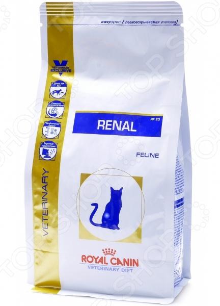 Корм сухой диетический для кошек Royal Canin Veterinary Diet Renal RF 23Лечебные корма<br>Корм сухой диетический Royal Canin Veterinary Diet Renal RF 23 предназначен специально для кошек. Представленный вид питания разработан для тех питомцев, которые испытывают проблемы со здоровьем или находятся в группе риска. Тем не менее, ученым из компании Royal Canin удалось сохранить прекрасные вкусовые качества корма, поэтому ваш питомец будет в восторге от своего нового блюда. Рацион рекомендуется кошкам, страдающих от хронической почечной недостаточности. Преимущества корма Royal Canin Veterinary Diet Renal RF 23:  Снижено количество фосфора, что способствует замедлению болезни;  Высокое содержание белков снижает нагрузку на почки;  Для предотвращения метаболического ацидоза, в питании содержатся подщелачивающие вещества;  Отличные вкусовые качества. Данный вид корма не подходит для кошек в:  В период беременности, лактации или роста. Кормить кошку следует в соответствии со следующим руководством:      Вес кошки          2 кг     3 кг     4 кг     5 кг     6 кг     7 кг     8 кг     9 кг     10 кг       Недостаточный вес     г     39     52     64     74     85     95     104     113     122       мерных стаканов     3 8     4 8     5 8     6 8     7 8     1     1 1 8     1 1 8     1 1 4       Нормальный вес     г      32     43     53     62     71     79     87     94     102       мерных стаканов     3 8     4 8     4 8     5 8     6 8     7 8     7 8     1     1 1 8       Избыточный вес     г               42     50     56     63     69     75     81       мерных стаканов               4 8     4 8     5 8     5 8     6 8     6 8     7 8<br>