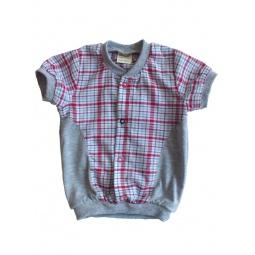 фото Сорочка для детей с коротким рукавом Ёмаё. Цвет: серый. Размер: 30. Рост: 110 см