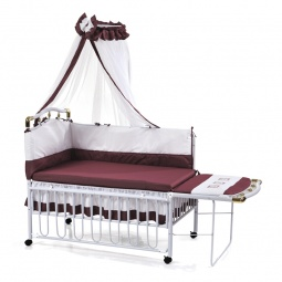 фото Кроватка детская Geoby с подвесной люлькой. Цвет: белый, бордовый