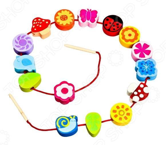 Игра развивающая для малыша Mapacha «Шнуровка - бусы. Цветы» деревянные игрушки mapacha игровой набор mapacha забей шарик