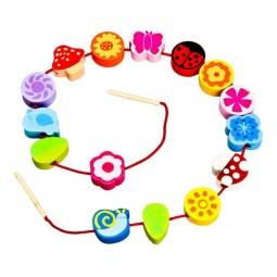 фото Игра развивающая для малыша Mapacha «Шнуровка - бусы. Цветы»